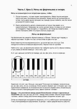 Страница методички. Ноты на фортепиано.
